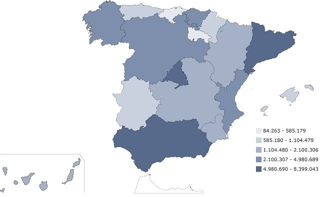 spanish population by autonomous communities