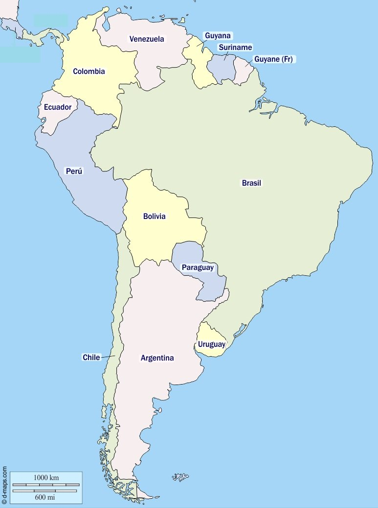 Countries in South America (list and map) | Learner trip