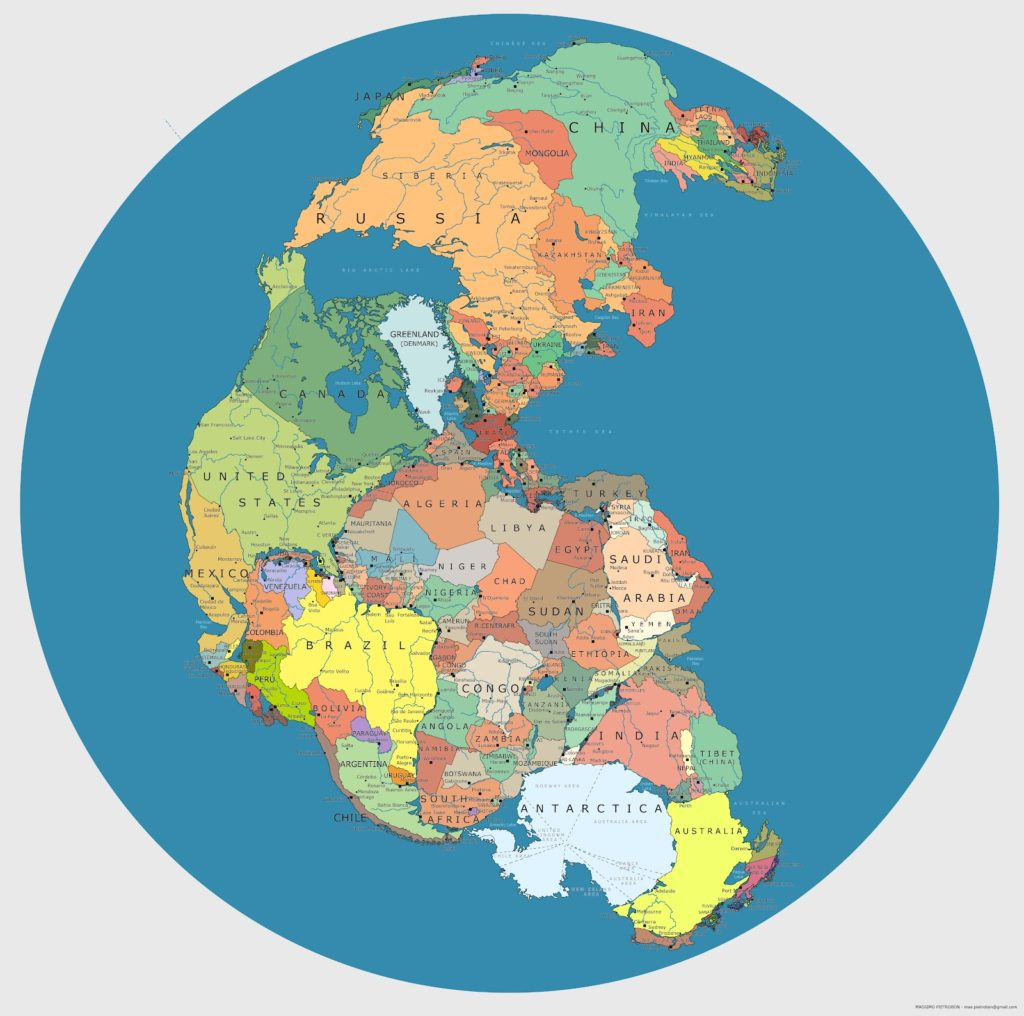 Current countries located on Pangea