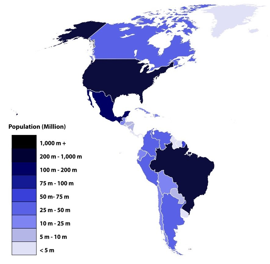 American countries by population