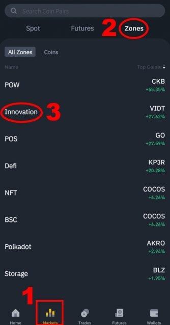 Binance innovation zone (app)
